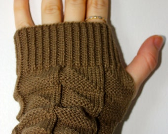 Fingerless Brown Knit Gloves