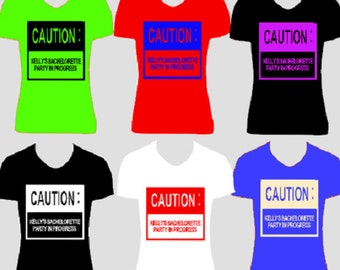 Bachelorette Party T Shirt Heat Transfer Iron On Caution