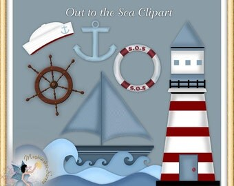 Nautical Clipart, Sailor, Marine, Navy, Seaman, Sea, Ocean, Lighthouse Digital scrapbook elements for Commercial Use