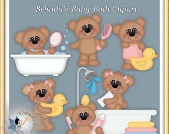 Baby Girl Teddy Bear Bath Clipart