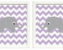 INSTANT DOWNLOAD Purple Grey Elephant Nursery Art Printable Baby Set of 2 Prints Chevron Wall Decor Kids Room Baby Boy Girl