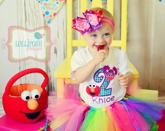 Abby and Elmo Birthday Number Tutu -Personalized Birthday Tutu,Sizes 6m - 14/16