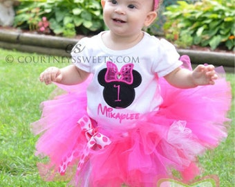 Minnie Mouse Silhouette Birthday Number Tutu -Personalized Birthday Tutu,Sizes 6m - 14/16