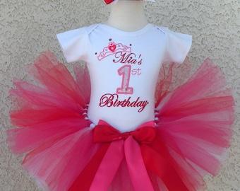 Princess Crown Red and Pink Fancy Birthday Tutu -Personalized Birthday Tutu,Sizes 6m - 14/16