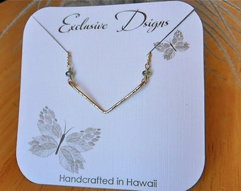 Chevron Necklace W/Green Tundra Sapphires Made In Hawaii