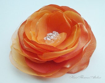 Orange Hair Clip Orange Hair Flower or Orange Brooch Orange Wedding  Flower Orange Bridal Clip Orange Bridal Accessories Discount Prices