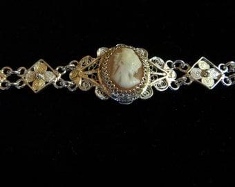 Cameo Bracelet set in .800 fine silver