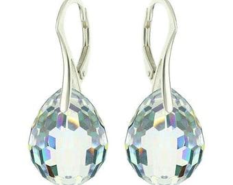 925 Sterling Silver Faceted Teardrop Plump Swarovski Crystal Leverback Earrings