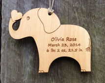 New Baby Ornament: Elephant Ornament/Baby Birth Info Keepsake/Personalized Ornament/Personalized Baby Gift/Baby's First Christmas Ornament