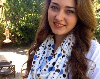 blue, brown, polka dot minky  infinity scarf