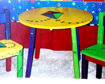Children's solid wood table with FOUR chairs