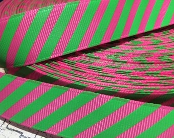 "7/8"" Diagonal Preppy Hot Pink and Lime Green grosgrain ribbon sold by the yard"