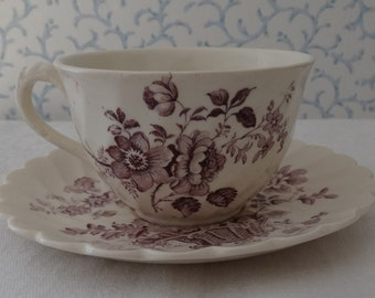 """Royal Staffordshire""""Charlotte"""" in shades of Purple Transferware Cup and Saucer. Made in Burslem, England. Clarice Cliff design."""