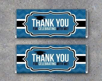 Graduation THANK YOU Candy Bar Wrapper in Blue – Instant Download Printable Files – Printable Candy Bar Wrappers – Graduation Party Favors