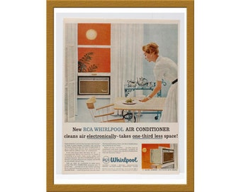 """1957 RCA Whirlpool Air Conditioner Color Print AD / Cleans air electronically / 9"""" x 12"""" / Original Advertisement / Buy 2 ads Get 1 FREE"""