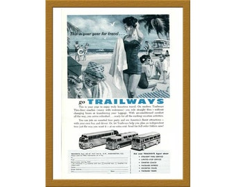 "1957 Trailways Thru-liner coaches Color Print AD / This is your year for travel / 6"" x 9"" / Original Print Ad / Buy 2 ads Get 1 FREE"