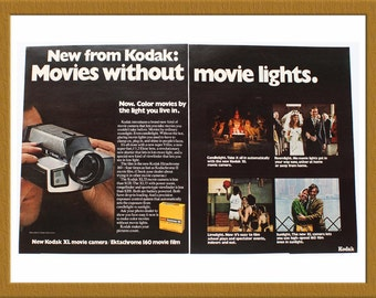 "1971 Kodak XL movie camera Color Print AD / Ektachrome 160 movie film / 2 pages / 20"" x 13"" / Original Advertisement / Buy 2 ads Get 1 FREE"