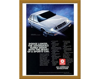 "1986 Dodge Lancer Car Color Print AD / The affordable family sedan / 6"" x 9"" / Original Print Ad / Buy 2 ads Get 1 FREE"