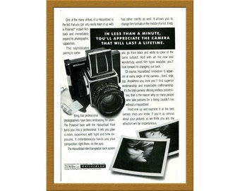 "1988 Hasselblad and Polaroid Instant Film Back B&W Print AD / In less than a minute / 6"" x 9"" / Original Advertising / Buy 2 ads Get 1 FREE"
