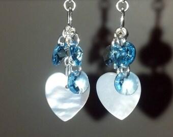 mother of pearl heart dangle earrings