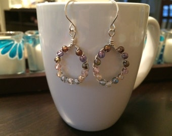 sterling silver and colorful druk bead dangling hoop earrings