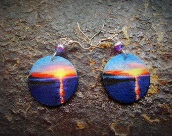 Earrings SUNRISE - hand painted wood
