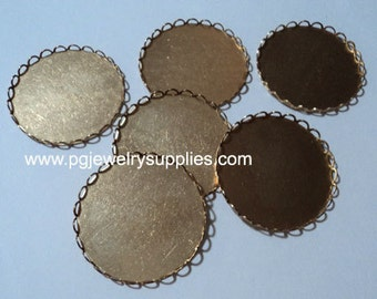 31mm Round lace edge cameo cabochon bezel settings cups 6 pcs