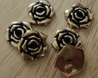 18mm metalized rose flower flatback with center hole antique goldtone 6 pcs
