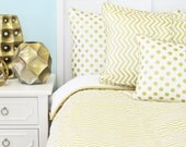 Metallic Gold Chevron Duvet in Twin, Full, Queen Bedding