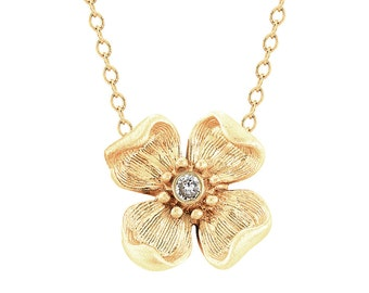 Gold Flower Necklace - Flower Charm Necklace - Diamond Flower Necklace - Gold Flower - Diamond Flower - Flower Charm