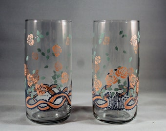 Set of 2 Vintage Anchor Hocking Drinking Glasses Tumblers with Peach / Pink Flowers, Basket and Ribbon print - AHC 1989