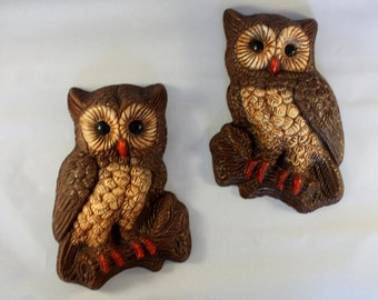 Pair of HOMCO Vintage Owl Plaques * 3-D Painted Foam Art * Retro Wall Hanging * 70's Home Decor