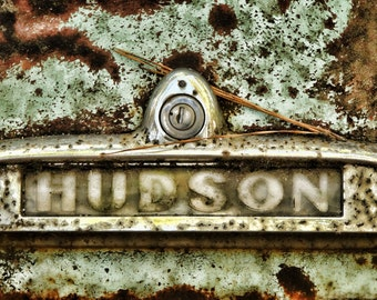 Old Hudson Car Insignia and Rust Car Art, Vintage, Old