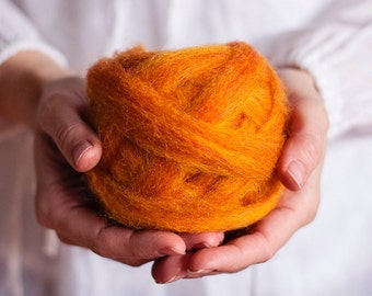 Wool Roving for needle felting, wet felting, spinning or knitting - 1 oz. Pumpkin, a classic orange - Mauch Chunky Roving by Kraemer Yarns
