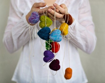 Rainbow Heart Garland Needle Felting Kit DIY learn a new craft with Video Instructions