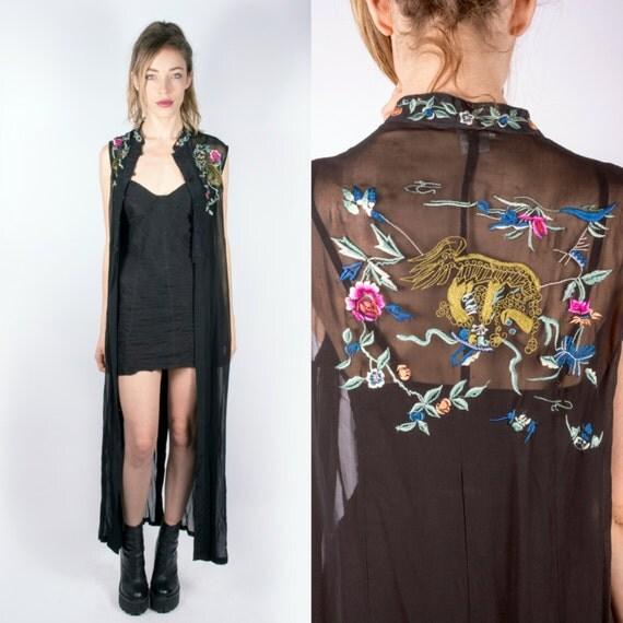 Sheer Kimono Style 90s Maxi Dress Floor Length Duster Jacket