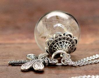 Dandelions silver chain * dragonflies * - K106