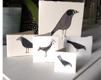Pack of  5 bird cards. Hand made, unique cards of different sizes with envelopes, nice to send individually look great displayed in a group