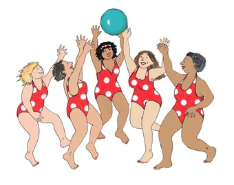 Beach Ball Babes a cheary funny card in celebration of having a good time with your friends. A great printed card from collage original