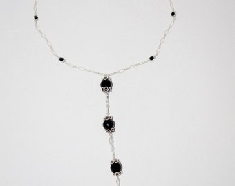 Faceted Black Onyx and Sterling Silver Handmade Lariat Statement Necklace
