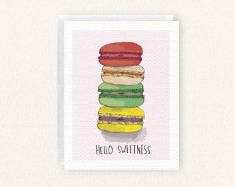 Spring Macaroons, Hello Sweetness Blank Card
