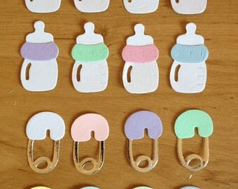 16 Baby bottle & Baby nappy pin die cut card toppers embellishments cardmaking scrapbooking assembled ready to use