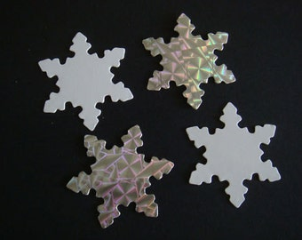 30 Silver & White Snowflake die cuts for christmas cards toppers cardmaking scrapbooking craft projects