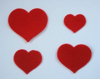 12 red Felt die cuts Applique's Heart toppers shapes *4 sizes* for craft projects