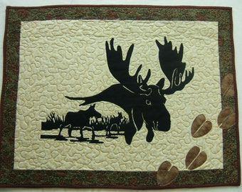 Quilted Wall Hanging, Moose Wall Hanging, Outdoor Wall Hanging, Moose Wall Art, Quilted Moose Wall Art, Moose Tracks Wall Hanging, Moose Art
