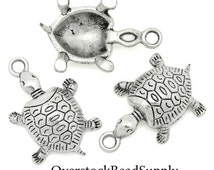 5 Silver Turtle Tortoise Charms 4361