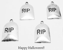 4 Tombstone Charms RIP Spooky Halloween Silver 8001