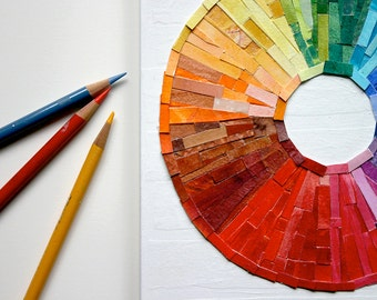 Rainbow Circle Collage- Made To Order- Wood Block- 8x10x1- Original Colorful Abstract - Multi Color Spectrum- Paper Art