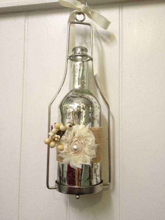 Hanging mercury glass votive candle holder by farmhousefare for Hanging votive candles