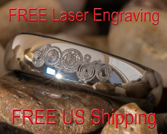 Tungsten Ring 6mm Dome Doctor Who Time Lord Design-Free Inside Engraving
